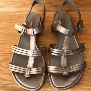 Ecco Pewter Strappy Sandals